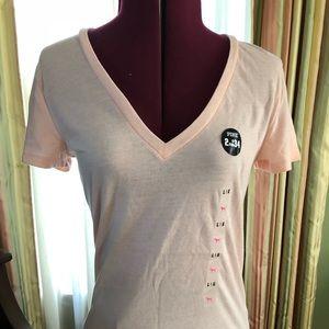 Victoria's Secret Pink V-Neck t-shirt in baby pink
